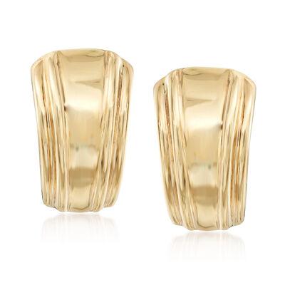 Italian 14kt Yellow Gold Striped Earrings, , default