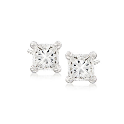 .43 ct. t.w. Princess-Cut Diamond Stud Earrings in 14kt White Gold, , default