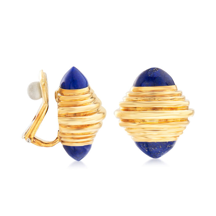 C. 1960 Vintage Boucheron Lapis Clip-On Earrings in 18kt Yellow Gold