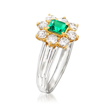 C. 1990 Vintage .60 ct. t.w. Diamond and .28 Carat Emerald Ring in Platinum and 18kt Yellow Gold. Size 5.75, , default