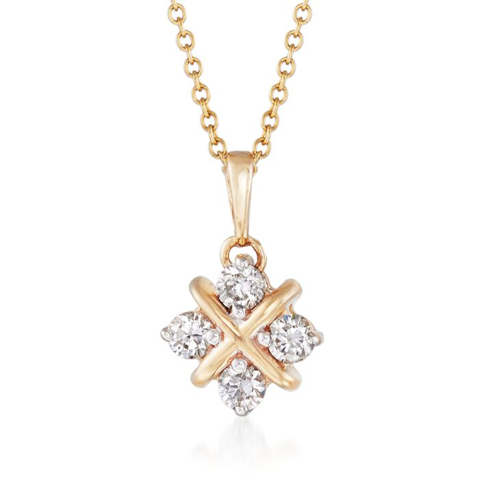 """.40 ct. t.w. Diamond Square Pendant Necklace in 14kt Yellow Gold. 18"""", , default"""