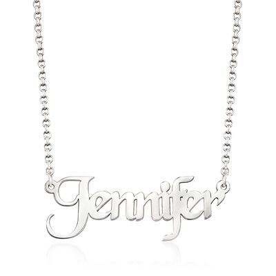 Sterling Silver Personalized Name Necklace, , default