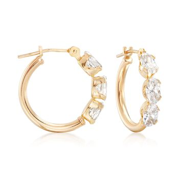 "1.50 ct. t.w. Triple-Oval CZ Hoop Earrings in 14kt Yellow Gold. 5/8"", , default"