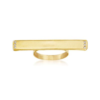 14kt Gold Over Sterling Silver Horizontal Bar Ring with CZ Accents, , default