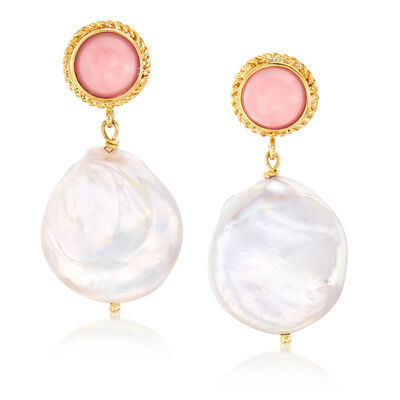 Italian 18-20mm Cultured Pearl and Coral Drop Earrings in 18kt Gold Over Sterling, , default