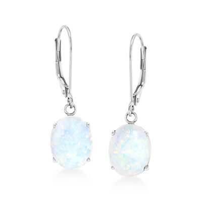 Simulated Opal Drop Earrings in 14kt White Gold, , default