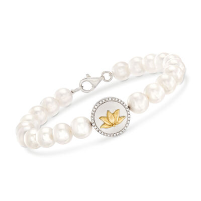 7.5-8mm Cultured Pearl and .10 ct. t.w. Diamond Lotus Bracelet in Sterling Silver and 14kt Yellow Gold