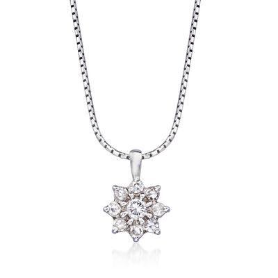 C. 1990 Vintage .40 ct. t.w. Diamond Flower Pendant Necklace in 14kt White Gold, , default