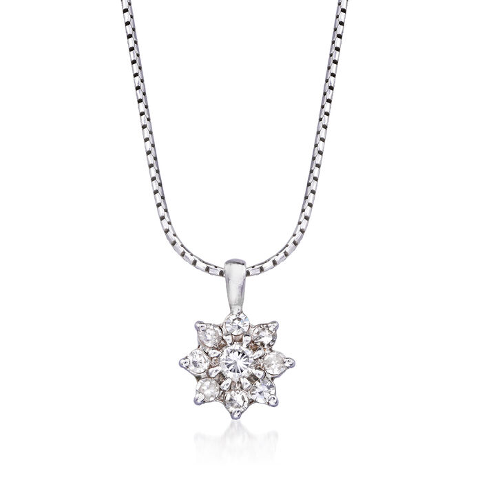 """C. 1990 Vintage .40 ct. t.w. Diamond Flower Pendant Necklace in 14kt White Gold. 18"""""""