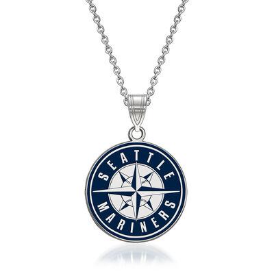 "Sterling Silver MLB Seattle Mariners Enamel Pendant Necklace. 18"", , default"