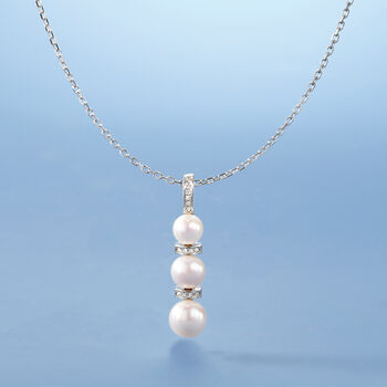 """6-8.5mm Cultured Pearl and .10 ct. t.w. Diamond Necklace in Sterling Silver. 18"""", , default"""