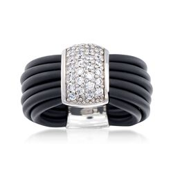 "Belle Etoile ""Adagio"" .70 ct. t.w. CZ and Black Rubber Ring in Sterling Silver, , default"