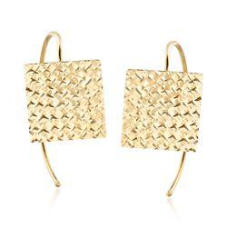 Italian 14kt Yellow Gold Diamond-Cut Square Earrings, , default