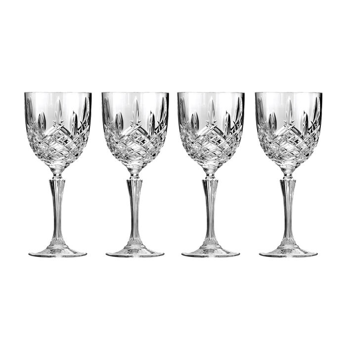 """Waterford Crystal """"Markham"""" Set of Four Marquis Wine Glasses"""