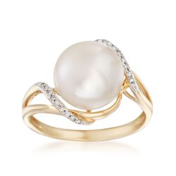 10-10.5mm Cultured Pearl Wave Ring With Diamond Accents in 14kt Yellow Gold, , default