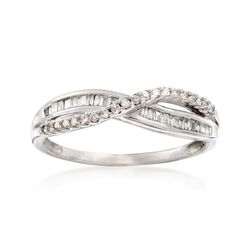 C. 1970 Vintage .36 ct. t.w. Diamond Crisscross Ring in 14kt White Gold. Size 7.5, , default
