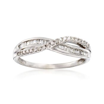 C. 1970 Vintage .36 ct. t.w. Diamond Crisscross Ring in 14kt White Gold. Size 7.5, , default