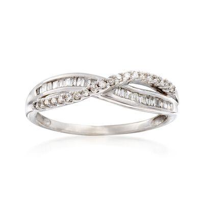 C. 1970 Vintage .36 ct. t.w. Diamond Crisscross Ring in 14kt White Gold, , default