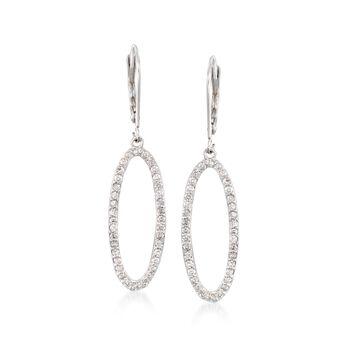 """.75 ct. t.w. Diamond Open Oval Drop Earrings in 14kt White Gold. 1 5/8"""", , default"""