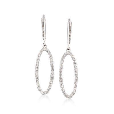 .75 ct. t.w. Diamond Open Oval Drop Earrings in 14kt White Gold, , default