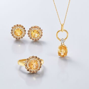 1.90 Carat Citrine and .35 ct. t.w. Brown Diamond Ring With White Diamond Accents in 14kt Yellow Gold, , default