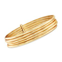 "Italian 18kt Gold Over Sterling Five-Row Bangle Bracelet. 8.5"", , default"