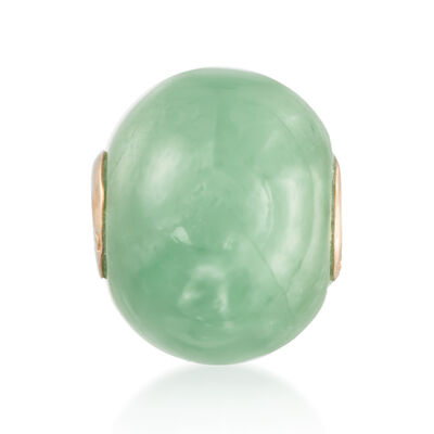 16mm Green Jade Bead Pendant in 14kt Yellow Gold, , default