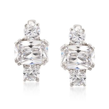 2.60 ct. t.w. CZ Three-Stone Curved Earrings in Sterling Silver, , default