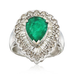 C. 1980 Vintage 2.20 Carat Emerald and 1.10 ct. t.w. Diamond Ring in 18kt White Gold, , default
