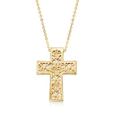 Italian 14kt Yellow Gold Filigree Cross Necklace
