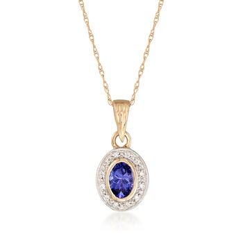 .40 Carat Oval Tanzanite Pendant Necklace With Diamond Accents in 14kt Gold, , default