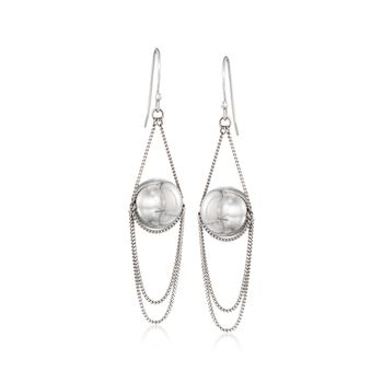 12mm Sterling Silver Bead and Chain Drop Earrings, , default