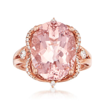 9.00 Carat Morganite and .30 ct. t.w. Diamond Ring in 14kt Rose Gold