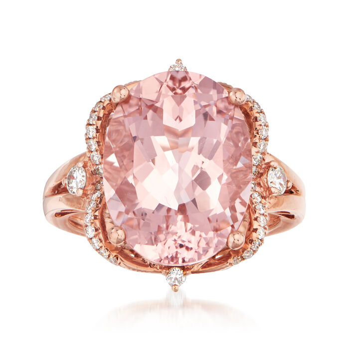 9.00 Carat Morganite and .30 ct. t.w. Diamond Ring in 14kt Rose Gold. Size 7
