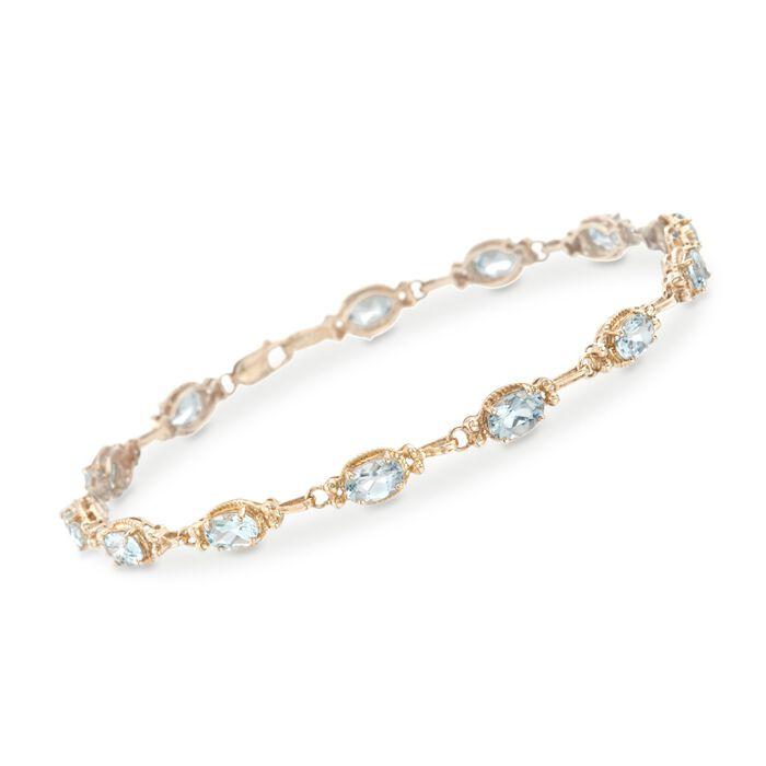 "4.40 ct. t.w. Aquamarine Bracelet in 14kt Yellow Gold. 7"", , default"