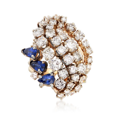 C. 1980 Vintage 2.60 ct. t.w. Diamond and .60 ct. t.w. Sapphire Cluster Ring in 18kt Yellow Gold, , default
