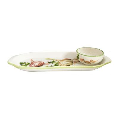 Abbiamo Tutto Italian Garlic and Herb Ceramic Set: Narrow Tray and Mini Dipping Bowl, , default