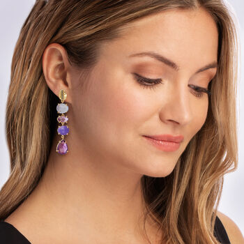 Labradorite, 12.00 ct. t.w. Amethyst and 10.00 ct. t.w. Purple Quartz Drop Earrings in 18kt Gold Over Sterling