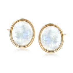 Bezel-Set Oval Moonstone Earrings in 14kt Yellow Gold, , default