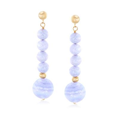Blue Agate Drop Earrings in 14kt Yellow Gold