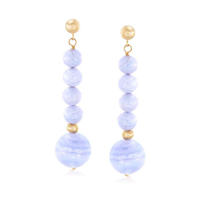 Blue Agate Drop Earrings in 14kt Yellow Gold, , default