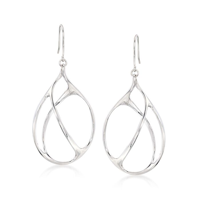 Italian Sterling Silver Open-Space Drop Earrings