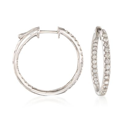 1.00 ct. t.w. Diamond Inside-Outside Hoop Earrings in 14kt White Gold, , default