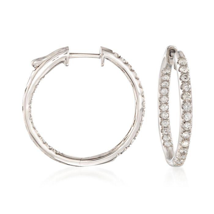 """1.00 ct. t.w. Diamond Inside-Outside Hoop Earrings in 14kt White Gold. 7/8"""", , default"""