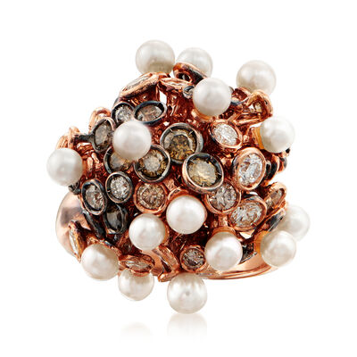 C. 1980 Vintage Roberta Poratti Cultured Pearl and 3.05 ct. t.w. Brown and White Diamond Cluster Ring in 18kt Rose Gold, , default