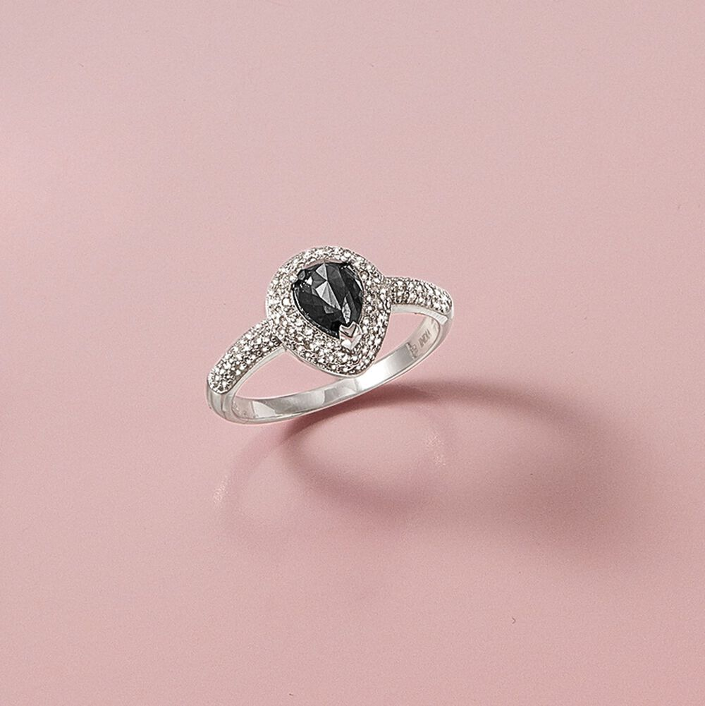 1.25 ct. t.w. Black and White Diamond Ring in 14kt White Gold | Ross ...