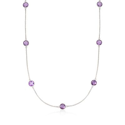 20.00 ct. t.w. Bezel-Set Amethyst Station Necklace in Sterling Silver, , default