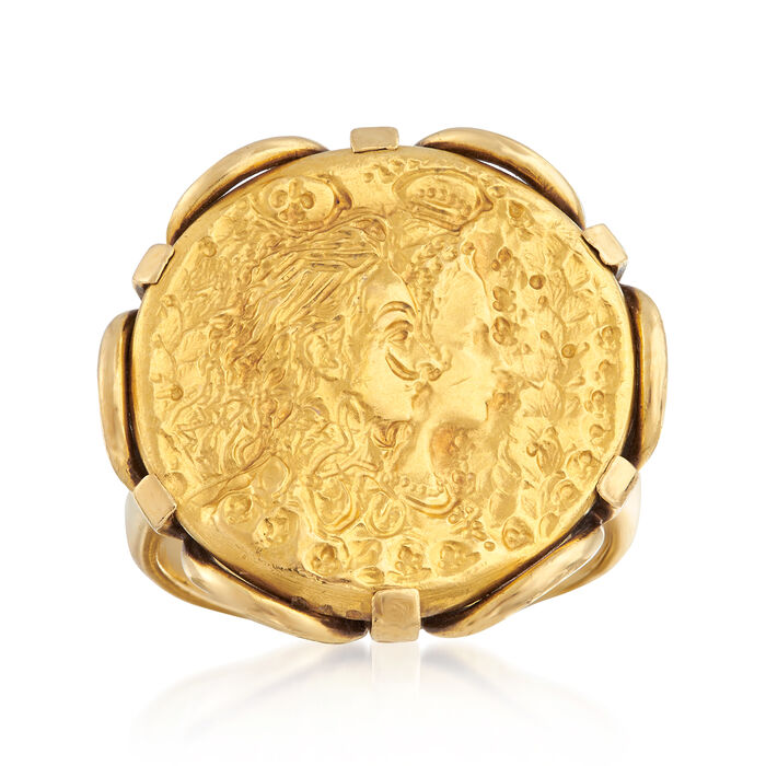 C. 1980 Vintage Piaget Ladyface Ring in 18kt and 22kt Yellow Gold. Size 5.5, , default