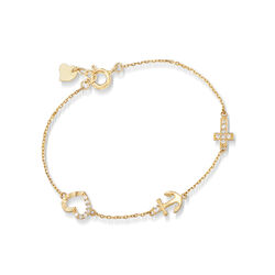Child's CZ-Accented Cross, Anchor and Heart Bracelet in 14kt Yellow Gold, , default