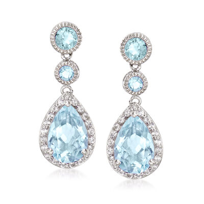 8.00 ct. t.w. Blue Topaz and 1.40 ct. t.w. White Topaz Drop Earrings in Sterling Silver, , default